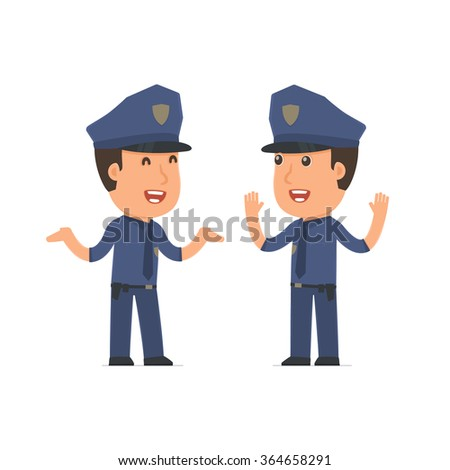 Funny Character Officer tells interesting story to his friend. Poses for interaction with other characters from this series - stock vector