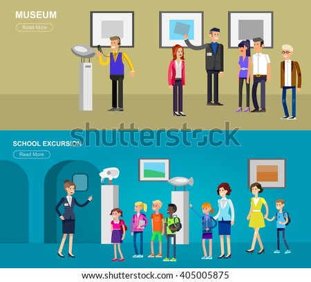 Funny character people in museum. Archeological museum of antiquity and natural science exposition for children, guided tour, exhibition space, audioguide, flat banners set - stock vector
