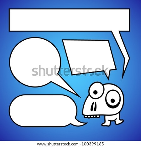 Funny character with speech bubbles. - stock vector