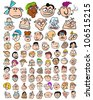 Funny Characters Doodle Cartoons. Cute People Expressions Icons - stock