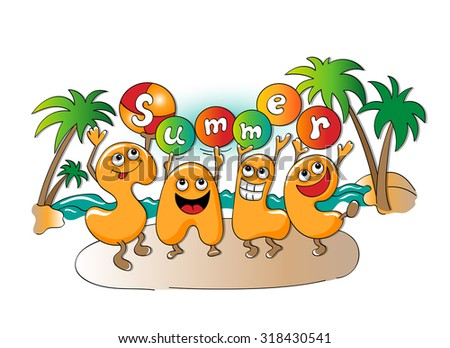 Funny characters of sale: summer sale on white background