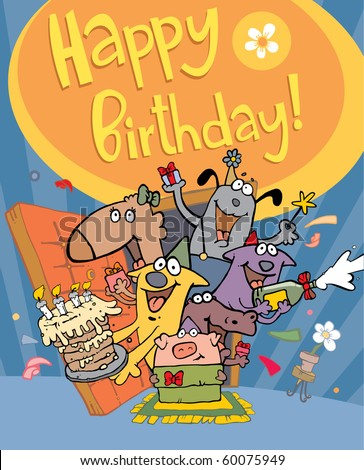 funny characters on birthday - stock vector
