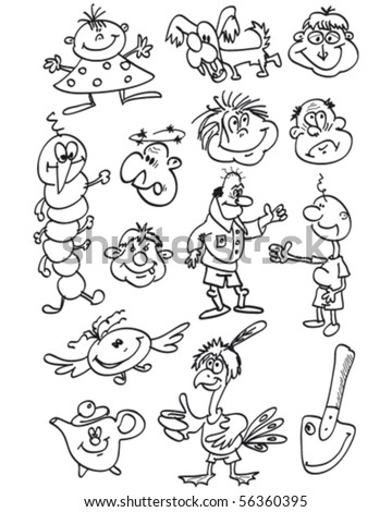 funny characters sketch doodles vector illustration - stock vector