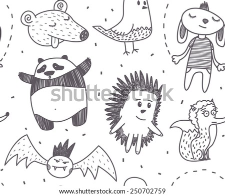 Funny characters vector drawings seamless pattern - stock vector