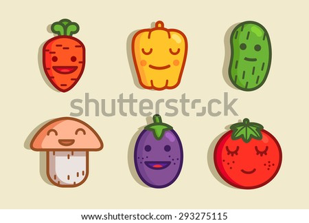 funny characters vegetables - stock vector