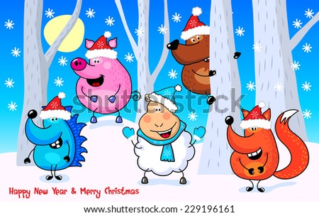 Funny cheerful wild animals in the winter forest. Vector illustration for greeting cards of New Year, Christmas. Orange fox, pink pig, brown bear, white sheep and blue hedgehog