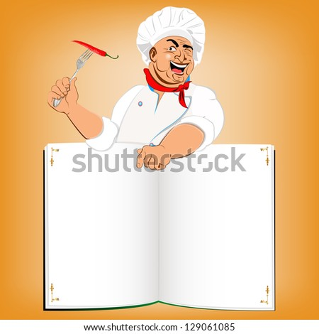 Funny Chef and book menu for Gourmet.Vector