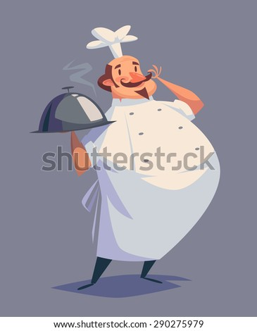 Funny chef character. Isolated vector illustration. - stock vector