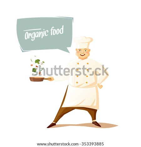 Funny chef on a white background. Vector illustration. - stock vector