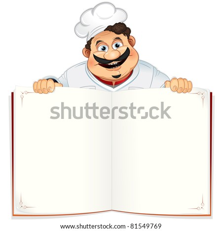 Funny Chef with Blank Cookbook, Menu or Notepad - stock vector