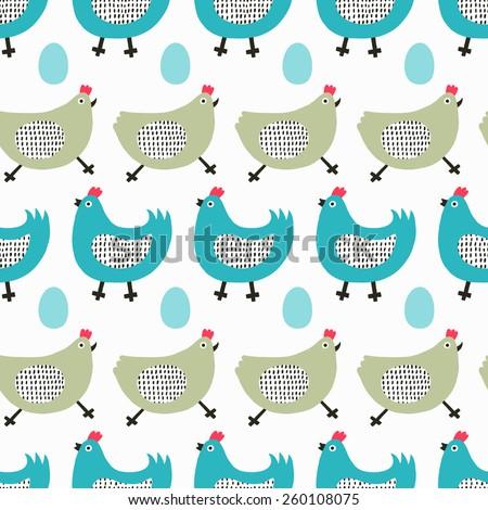 Funny chicken seamless pattern. Vector illustration. - stock vector
