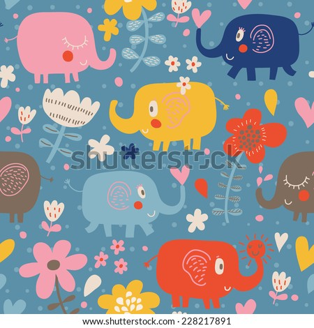 Funny childish elephants in flowers. Cute seamless pattern for nice backgrounds - stock vector