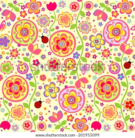 Funny childish wallpaper with ladybird - stock vector
