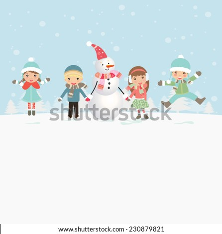 Funny children in Merry Christmas card. Cartoon holiday background - stock vector