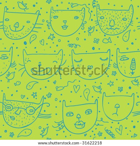 Funny childrens seamless pattern in vector - stock vector
