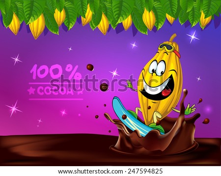 funny chocolate vector design with cocoa pod, leaf and chocolate splash - stock vector