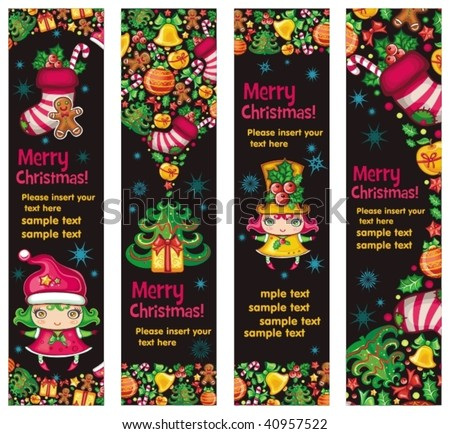 Funny christmas banners with copyspace - stock vector