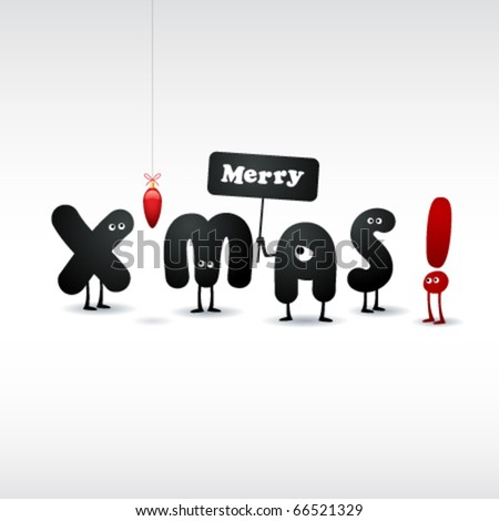Funny Christmas Card - stock vector