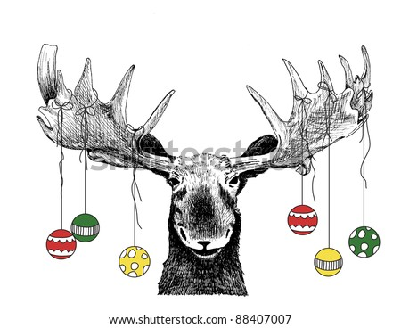 funny Christmas card moose design of hand drawn winter scene of big animal face, cute humorous Christmas tree ornaments on antlers, vector illustration Christmas card, fun happy Christmas humor sketch - stock vector