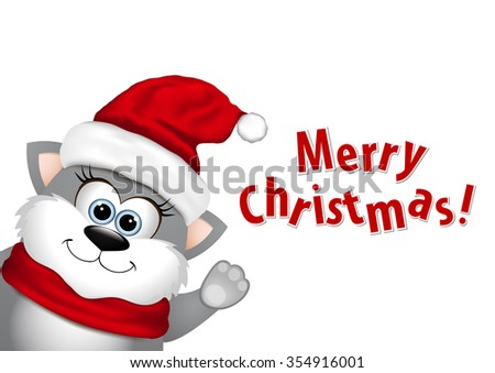 Funny Christmas cat. - stock vector