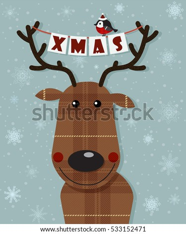 Funny christmas deer, paper stylized. New year Greeting card