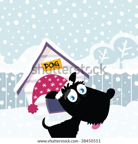Funny christmas dog. Adorable christmas doggie in christmas hat. Vector Illustration. - stock vector