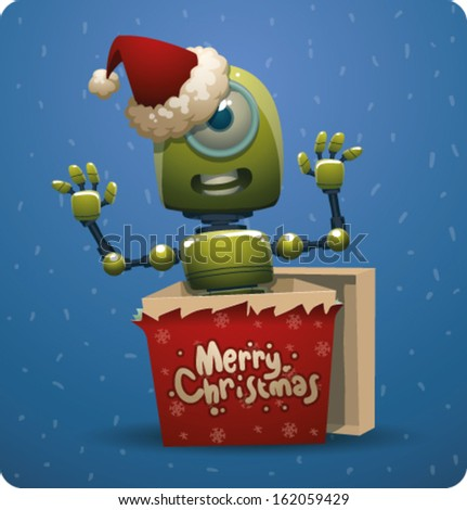 Funny Christmas green robot - stock vector