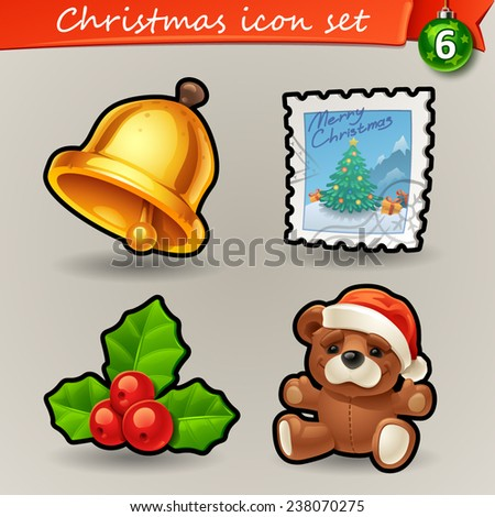 Funny Christmas icons-6 - stock vector
