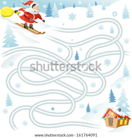 Funny Christmas Maze Game: Santa Claus on Ski Find the Way to the House and Delivery Gifts. New Year Illustration - stock vector