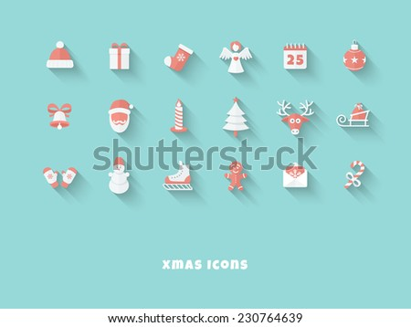 Funny Christmas Red-White Icons in Flat Style with Long Shadows on Blue Background - stock vector