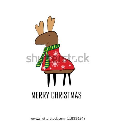 Funny Christmas reindeer - stock vector