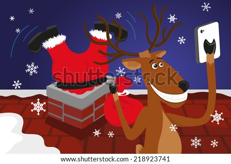 Funny christmas reindeer is doing selfie for social networks - stock vector