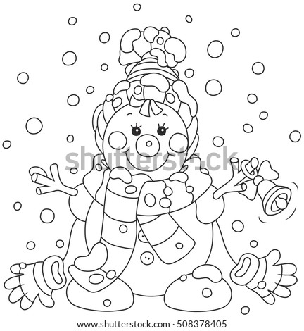 Funny Christmas snowman friendly smiling and ringing a small bell, wearing a scarf, a cap and mittens