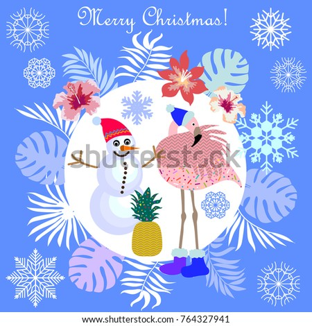 Funny Christmas Tropical Holiday Flamingo Snowman Stock Photo (Photo ...