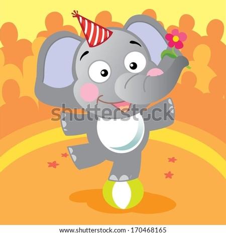 Funny circus elephant - stock vector
