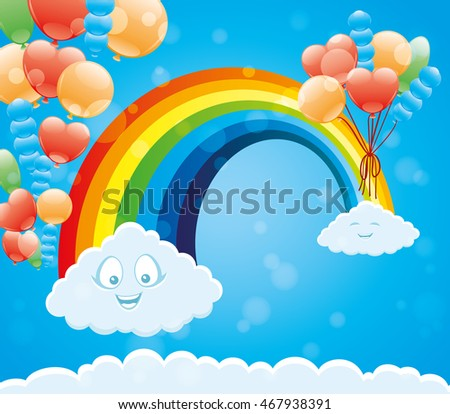 Funny clouds, rainbow and balloons in a blue sky.