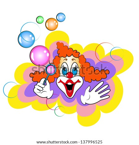 funny clown and bubbles