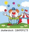 Funny Clown Cartoon Character Juggling With Balls In Front Of Circus Tent. Vector Illustration  - stock