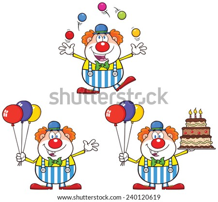 Funny Clown Cartoon Character 1. Vector Collection Set - stock vector