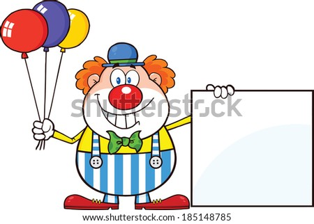 Funny Clown Cartoon Character With Balloons Showing A Blank Sign. Vector Illustration Isolated on white - stock vector