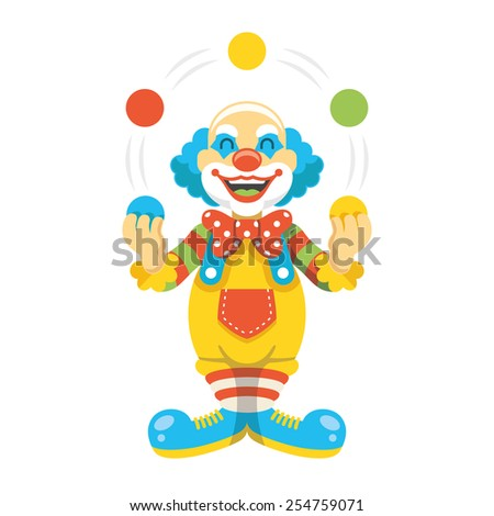 Funny clown character vector illustration. Creative trendy concept. Modern graphic design elements. Isolated on white background. - stock vector