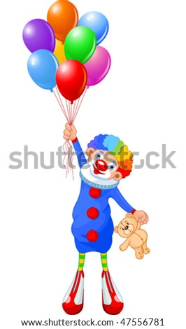 Funny clown flying with balloons. Vector illustration - stock vector