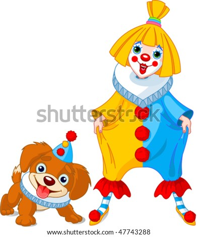 Funny clown girl with her friend ? clown puppy - stock vector