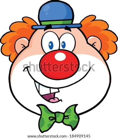 Funny Clown Head Cartoon Character. Vector Illustration Isolated on white - stock vector