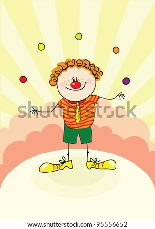 funny clown in circus - stock vector