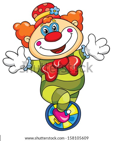Funny clown on a white background, vector illustration - stock vector