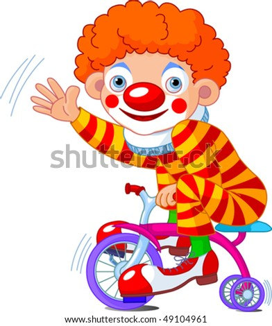 Funny Clown on three-wheeled bicycle - stock vector