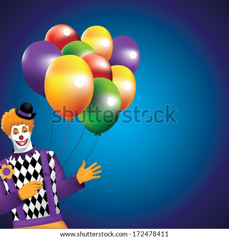 Funny Clown With Balloons Background. EPS 10 vector, grouped for easy editing. No open shapes or paths. - stock vector