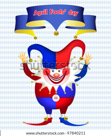 Funny Clown with his hands up, All Fools' Day - stock vector