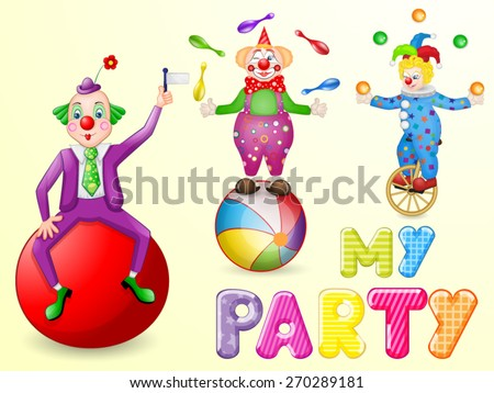 Funny clowns at party - stock vector